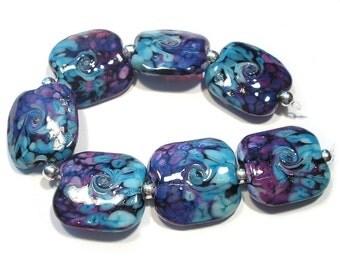 Turkish Delight Twist Squeezed Handmade Glass Lampwork  Beads