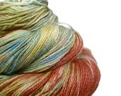Handpainted Fingering Yarn -  Bamboo Bliss - 100 gm VINTAGE -  Merino Wool Bamboo Nylon Sock Yarn - Lot #130209