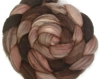 Handpainted Heathered BFL Wool Roving - 4 oz. ROSEWOOD - Spinning Fiber