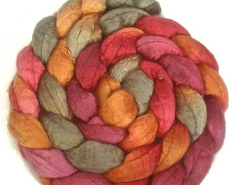 Handpainted Merino Silk 50/50 Wool Roving - 4 oz. GRAPEVINE - Spinning Fiber