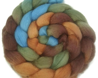 Handpainted BFL Wool Roving - 4 oz. COPPER HILLS - Spinning Fiber