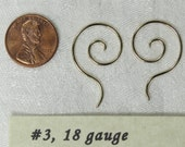 Spiral drop Earrings 18 guage, Sterling Silver. Free shipping  Pair. (3,s)