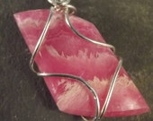 Sterling Wire Wrapped Pink Rhodochrosite Necklace