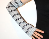White Gray and Black Striped Arm Warmers X Long
