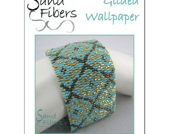 Peyote Pattern - Gilded Wallpaper Peyote Cuff / Bracelet  - A Sand Fibers For Personal/Commercial Use PDF Pattern