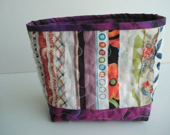 Dark Purple Hand-Dyed Selvage Fabric Quilted Fabric Basket Scrap Bucket Hanging Mini Storage Bin