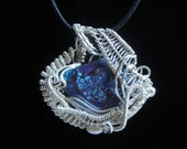 Artisan Wire Wrapped Sterling Pendant with Mojave Purple Turquoise