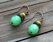 Moss Green Earrings, Drop Earrings, Boho Jewelry, Nature Jewelry, Czech Glass and Wood