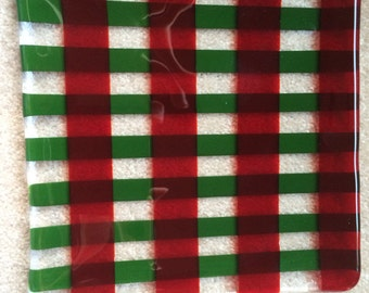 Red and green plaid fused glass plate/dish
