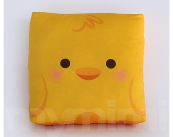 "7 x 7"", Decorative Pillow, Yellow Duck Pillow, Animal Pillow, Stuffed Toy, Kawaii Animal, Baby Shower, Room Decor, Childrens Toys"