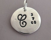 """Sterling Silver Hand Stamped Charm for Mother's Necklace - 1/2"""""""