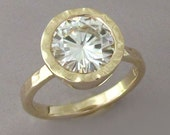 Moissanite Engagement Ring in 14k Yellow Gold - Hand Hammered with Hammered Bezel - Choose a Stone Size