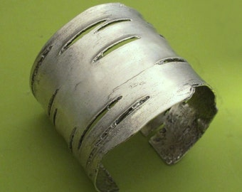 Birch Bark Cuff Bracelet in Sterling Silver