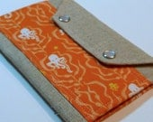 Gift Under 25- Passport Cover Case- In Touch Clutch for Moleskine Journals Heather Ross Mendocino Seahorses Octopus