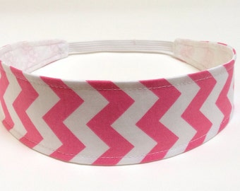 Girls Headband, Childs Headband, Childrens Reversible Fabric Headband - PINK CHEVRON
