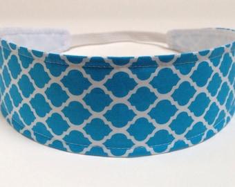 Headband Reversible Fabric  - Aqua Blue, Quatrefoil, Moroccan, Lattice  -  Headbands for Women - AQUA BLUE QUATREFOIL