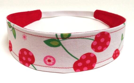 Girls Child Girl Headband   -   SWEET CHERRIES  -   Reversible Fabric