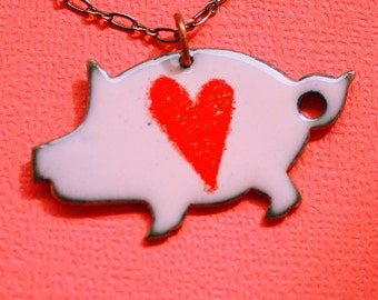 Love Pigs Necklace - Enameled Copper Pendant