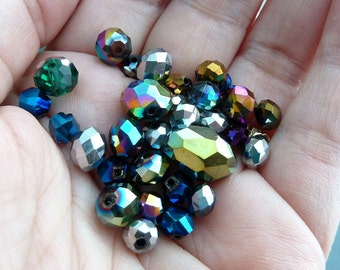 200 Metallic Crystal Rondelles lot blue purple green silver gold mixed discs ab finish 4mm 6mm 8mm beads assortment 100