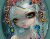 Seashell Princess mermaid fairy art print by Jasmine Becket-Griffith 8x10 rococo shells seahorse starfish