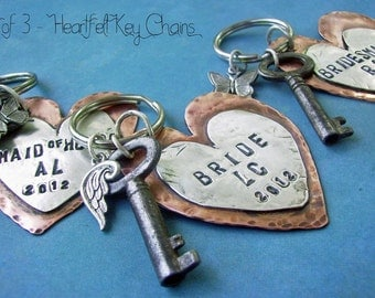 set of 3 HEARTFELT HandStamped Rustic Antiqued Copper Sterling Silver Key Chains, Custom Personalized Anniversary, Wedding, bridesmaids gift