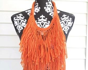 Orange Hand Crocheted Bohemian Statement Necklace