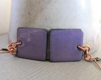 Enameled Earrings, Copper Earrings, Purple, Square Earrings, Geometric Jewelry, Copper Jewelry, Dangle Earrings