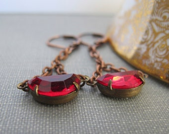 Red Glass Earrings, Copper Earrings, Vintage Glass Charms, Red Rhinestones, Garnet Red, Copper Jewelry, Ruby Red