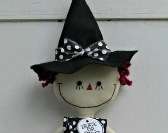 Halloween Witch handmade cloth rag doll in Black and White Polka Dots raggedy Ann