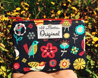 Graphite Birds and Flowers Wallet, Black Wallet, Small Wallet, Change Purse, Black Coin Purse, Fabric Pouch, Zipper Wallet, Fabric Wallet