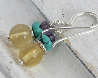 Yellow Fluorite AMETHYST Turquoise Sterling Hill Tribe Silver Dangle Artisan Earrings // Natural Gems // luluglitterbug