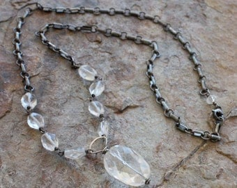 Crystal QUARTZ necklace, sterling silver, handmade necklace, sterling silver, AngryHairJewelry