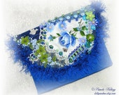 Blue Clutch Purse, Blue Rose, Hand Embroidered, Crazy Quilt, Beaded Clutch, Embellished Bag, Small Clutch, Evening Bag, Wedding Purse