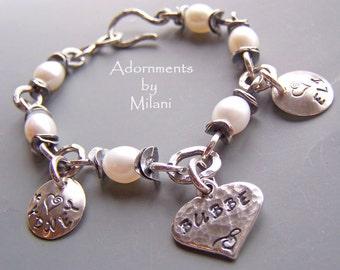 Bubbe Grandma Bracelet Yiddish Jewish Grandchildren Names Sterling Silver Pearls Personalized