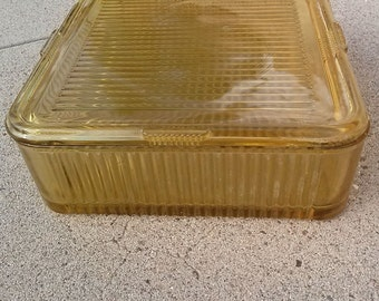 Vintage 1940s Refrigerator Dish Amber Federal Glass Vertical Lines Pattern Square 2014427