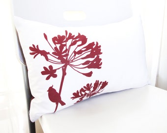 SALE Burgundy Red Print on Off- White Cardinal on Agapanthus Rectangle Pillow Ready to ship