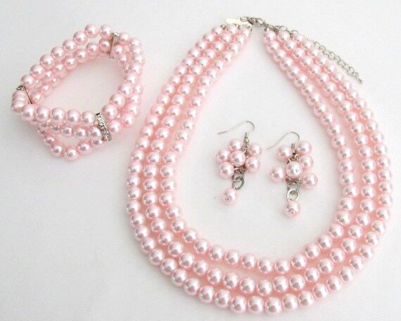 Best Bridal Jewelry Pink Pearls Three Strands Necklace Bracelet Grape Earrings Free Shipping In USA
