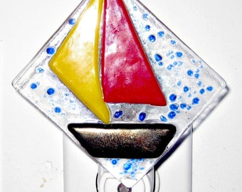 Sailboat Fused Glass Night Light