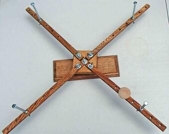 Large Portable Oak Yarn Skein Winder Decorative Base