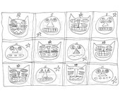 Primitive Stitchery Pattern Halloween Pumpkins Black Cat JOL Punch Needle Embroidery Coloring Sheet  Instant Download by Hickety Pickety