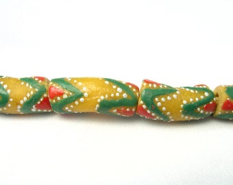 African Krobo Powder Glass Trade Beads GHANA  Yellow Red White Green Zigzag (9 beads)