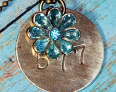 FREE SHIPPING-Miners Brass Tag Necklace with Blue Rhinestone Bauble Brass Number Tag