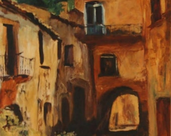 Village Alley 8x10 Canvas Giclee Print of Original Oil Painting by Kathleen Farmer Denver Artist