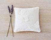 White Linen Lavender Sachet, Vintage Lace Butterflies, Cottage Chic