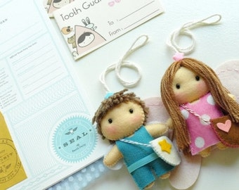 Customized Tooth Guardian Angel, Losing Tooth Keepsake (boy or girl), comes with Free Embossed Letterpress Tooth Fairy Certificate of Record