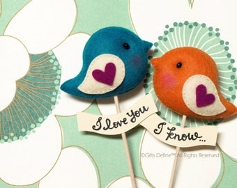 LOVE BIRDS PAIR, Unique Personalized Wedding Cake Topper, Custom Colors, Party Decor, Wedding Photo Prop, Wedding Gift Favor for Bride Groom