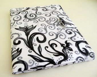 Black and White Floral Book Style Cover for Original iPad