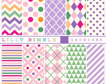 80% off Digital scrapbook papers in pink, purple, orange polka dots, quatrefoil, chevronInstant Download commercial use