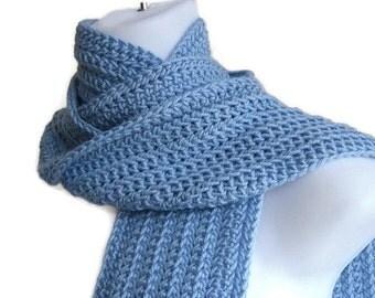 Light Blue Scarf Sky Blue Classic Scarf Crochet Powder Blue Women Unisex Men GABLE Ready to Ship - Autumn Winter Fashion