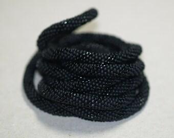 Tuxedo ... Necklace . Bead Crochet . Infinity . Wrap . Black Necklace . Seed Beads . Beadwork . Classic . Elegant Neckwear . Chic Accessory